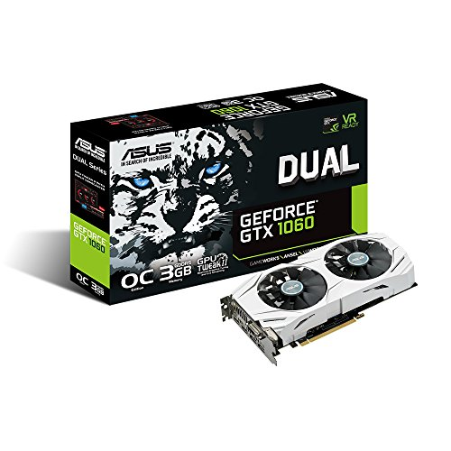 ASUS GeForce GTX 1060 3GB Dual-Fan OC Edition Graphics Card DUAL-GTX1060-O3G