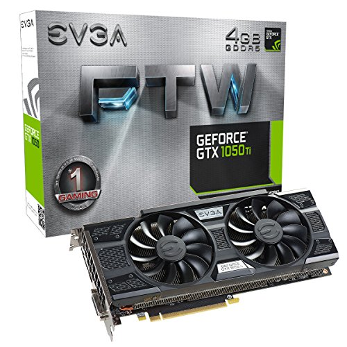EVGA GeForce GTX 1050 Ti FTW Gaming Graphic Cards ACX 3.0, 4GB GDDR5, DX12 OSD Support PXOC Graphics Card 04G-P4-6258-KR