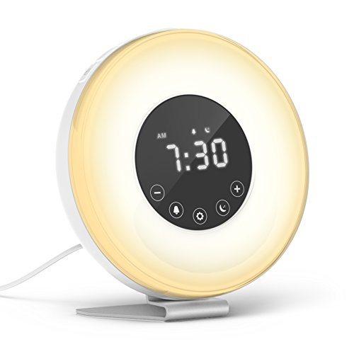 With Snooze Function for Heavy Sleepers – hOmeLabs Sunrise Alarm Clock – Multiple Nature Sounds Sunset Simulation & Touch Control – Digital LED Clock with 6 Color Switch and FM Radio for Bedrooms