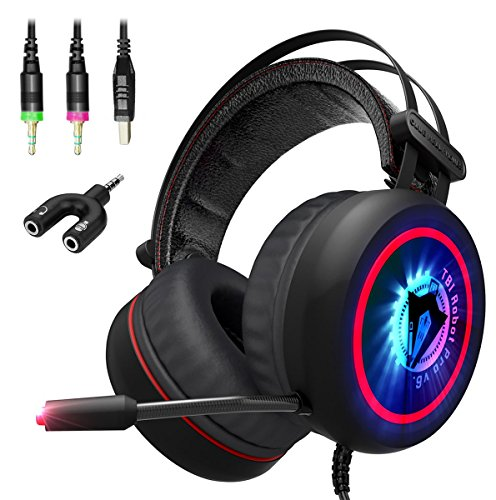 Wired Soft Breathing Over-Ear Game Headphones – USB LED for PC, Xbox 360, One, PS3, PS4 h1 – NEW 2018 Gaming Headset w/ 3.5mm and Y-Adapter -7.1 Best Surround Stereo Sound, Noise Cancelling Mic