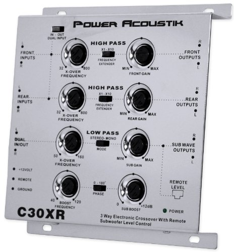 Power Acoustik C30XR 3-Way Electronic Crossover with Remote Dash Mount Bass Knob Control