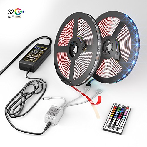 NEW 2018 LED Strip Lights Kit – 32.8ft 10M 300 LEDs SMD 5050 RGB Light with 44 Key Remote Controller, Extra Adhesive 3M Tape, Flexible Changing Multi-Color Lighting Strips for TV, Room