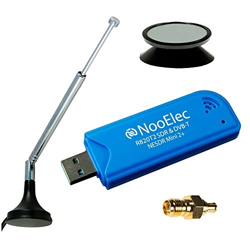 NooElec NESDR Mini 2+ 0.5PPM TCXO RTL-SDR & ADS-B USB Receiver Set w/ Antenna, Suction Mount, Female SMA Adapter & Remote Control, RTL2832U & R820T2 Tuner. Low-Cost Software Defined Radio.