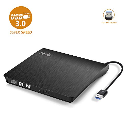 Rioddas External CD Drive, USB 3.0 Portable CD/DVD +/-RW Drive Slim DVD/CD ROM Rewriter Burner Superdrive High Speed Data Transfer for Laptop Desktop PC Windows and Linux OS Apple Mac Black