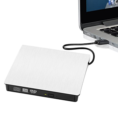 External DVD Writer, External USB 3.0 CD-RW/ DVD-RW Burner Writer External DVD Drive for Laptops Notebook Desktop PC White Portable Ultra Slim
