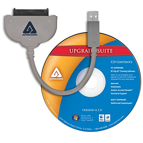 Apricorn SATA Wire Notebook Hard Drive Upgrade Kit with USB 3.0 Connection ASW-USB3-25 Grey