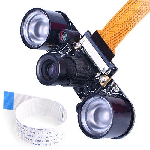 kuman for Raspberry PI Camera Module 5MP 1080p OV5647 Sensor HD Video Webcam Supports Night Vision for Raspberry Pi model B/B+ A+ RPi 3/2/1/zero/zero W with FFC/FPC Cable Raspberry PI Camera Module