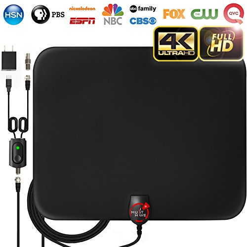 18ft Coax Cable/AC Adapter – Newest 2018 Amplified HD Digital TV Antenna Long 60 Miles Range – Support 4K 1080p & All Older TV's Indoor Powerful HDTV Amplifier Signal Booster