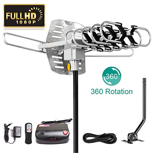 OTA Amplified HDTV Antenna Support 4K 1080p UHF/VHF/FM for 2 TVs – Motorized 360 Degree Rotation with 32.8ft Coax Cable,Antenna Mast Pole – Outdoor Digital HD TV Antenna 150 Mile Range