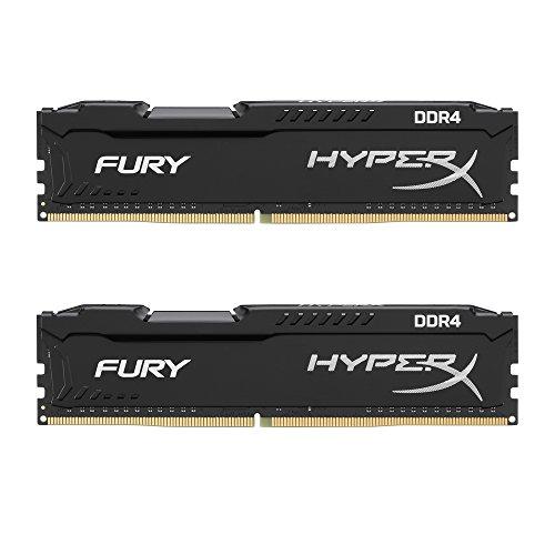 HyperX Kingston Technology Fury 16GB 2 x 8GB DDR4 2400MHz DRAM Desktop Memory CL15 1.2V DIMM 288-pin Black HX424C15FB2K2/16