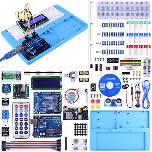 UNIROI UNO Starter Kit for Arduino, Complete Arduino Kit for Beginner with Detailed Tutorials, RAB Holder, Breadboard for Arduino UNO R3 Arduino Mega 2560 Arduino Nano Robot 52 Items UA005