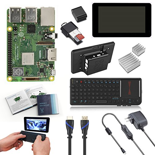 V-Kits Raspberry Pi 3 Model B+ Plus Complete Starter Kit with 7″ LCD Touchscreen Monitor & Mini Keyboard with Touchpad Combo Latest Model 2018