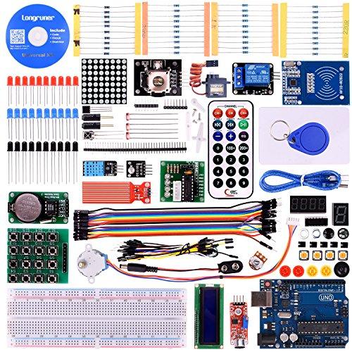 Longruner Upgrade RFID Master Starter Kit for Arduino with Tutorials, UNO R3, RC522, LCD1602, Breadboard and Sensors Modules Motor Servo Jumper Wire LK6 Arduino kit