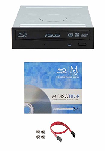 Asus 16x BW-16D1HT Internal Blu-Ray Burner Drive Bundle with 3 Pack M-DISC BD and Cable Accessories Supports BDXL and M-DISC, Retail Box