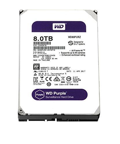 WD Purple 8TB Surveillance Hard Disk Drive – 5400 RPM Class SATA 6 Gb/s 128MB Cache 3.5 Inch – WD80PURZ