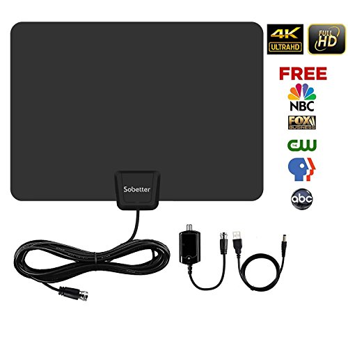 Digital HD TV Antenna 50-80 Miles Range 2018 Upgraded Compatible 4K 1080P Free TV Channels,Powerful Detachable Amplifier Signal Booster,Longer Coax Cable for All TVs – Sobetter TV Antenna