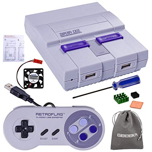 Retroflag SUPERPI CASE UCase NESPI CASE SNES Case with Functional Power Button and Reset Button, with USB Controller, Raspberry Pi Heatsink Fan for Raspberry Pi 3 B+ & Raspberry Pi 3/2 Model B/B+