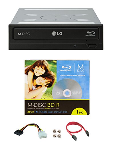 Produplicator Bundle of LG 16x WH16NS40 Internal Blu-ray Writer with 1 Pack M-DISC BD and Cable Accessories