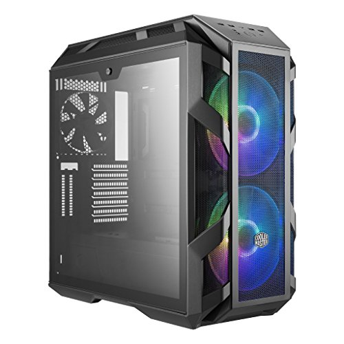 Cooler Master MasterCase H500M ATX Computer Case, Front Mesh or Glass Option, 4 Temper Glass Panels view, 2 RGB 200mm Fans, Iron Grey