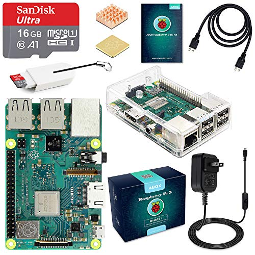 ABOX Raspberry Pi 3 Model B+ B Plus Motherboard Starter Kit 16GB Class 10 SanDisk Micro SD Card, 5V 2.5A on/Off Switch Power Supply, 2 Pcs Heatsinks, Premium Clear Case & HDMI Cable Model 2018
