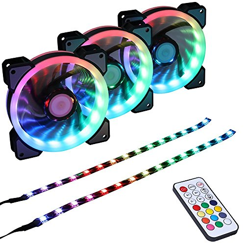 LEDdess RGB LED 120mm Case Fan with Controller for PC Cases, CPU Coolers, Radiators System 3pcs RGB Fans, 2pcs led Strips, 2nd Gen RF Remote Control, A Series
