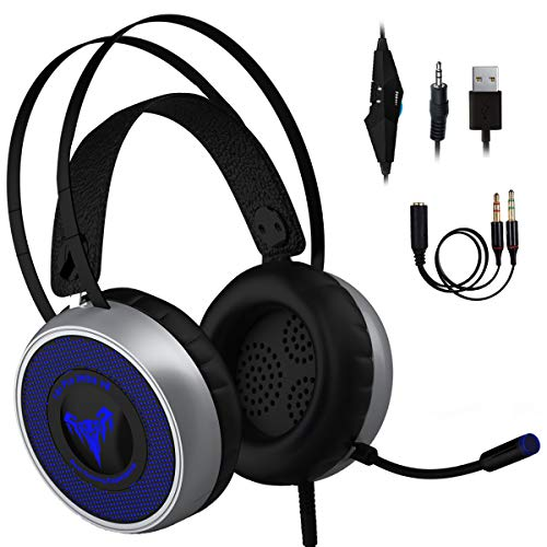 Newest 2019 Gaming Headset for Xbox One, S, PS4, PC with LED Soft Breathing Earmuffs, Adjustable Microphone, Comfortable Mute & Volume Control, 3.5mm Adapter for Laptop, PS3, Nintendo