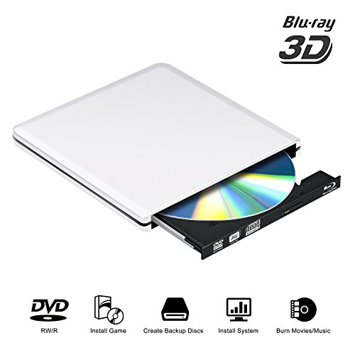 Blu Ray External DVD Drive 4K 3D,Bluray Player DVD-rw cd Opitical Disc Burner for Laptop PC Windows Mac Os Silver