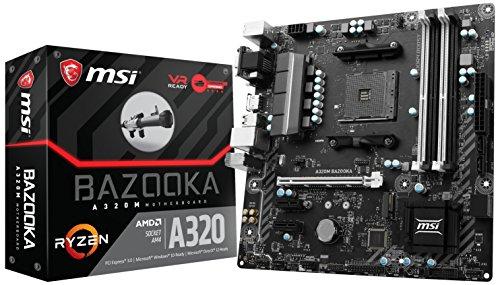 MSI Gaming AMD Ryzen A320 DDR4 VR Ready HDMI USB 3 micro-ATX Motherboard A320M BAZOOKA