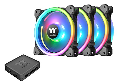 CL-F072-PL12SW-A – Triple Pack – Thermaltake Riing Trio 12 RGB TT Premium Edition 120mm Software Enabled Circular 30 Controllable LEDs 9 Blades PWM Case/Radiator Fan