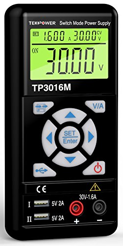 3.75A or 0.3V-30V@ 1.6A with VC and CC Control, Upgraded TP3005D,HY3005, Mastech – Tekpower TP3016M Portable Handheld Variable DC Power Supply with USB Port, 0.3V – 12V @ 0