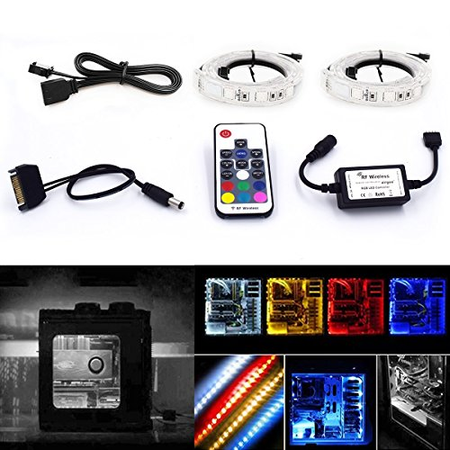 High Brightness 2pcs 15inch RGB LED Strip Light with PU Tubes Using RF Remote for Desktop PC Computer Mid Tower – Computer Magnetic LED Strip Kit – Super Strong Magnet Easy to be Fixed on You PC Case