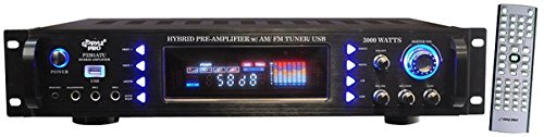 Great for Karaoke and Home Entertainment System – Pyle P3201ATU – 4-Channel Home Audio Power Amplifier – 3000 Watt Stereo Receiver w/Speaker Selector, AM FM Radio, USB, Headphone, Microphone Input
