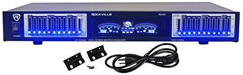 Rockville REQ20 19″ Rack Mount Pro Dual 10 Band Graphic Equalizer EQ w/VU Meters