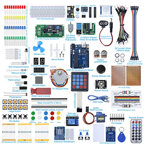 AGOAL UNO R3 Development Board Project Starter Kit for Arduino with Tutorial, Electronics Component Kit Included Breadboard, DHT 11 Temperature-Humidity Sensor 1-Pack