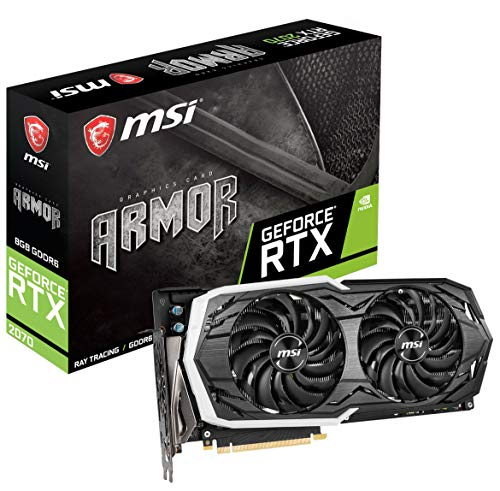 MSI Gaming GeForce RTX 2070 256-bit HDMI/DP/USB Ray Tracing Turing Architecture Graphics Card RTX 2070 Armor 8G OC