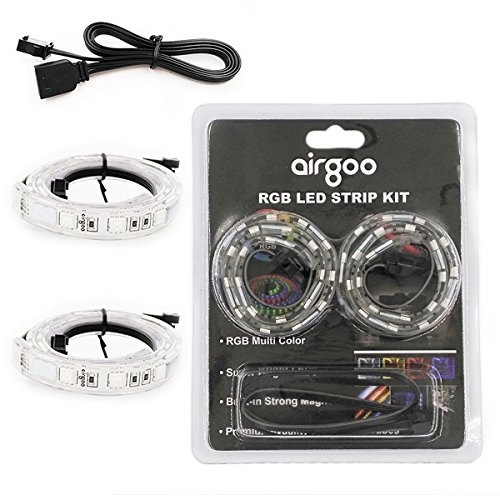 Strong Magnet Bright 2pcs RGB LED Strip Light for ASUS Aura RGB/MSI Mystic Light Sync/RGB Fusion/ASROCK Aura RGB and M/B with 4pin RGB LED Strip Header – Extended Computer Magnetic LED Strip