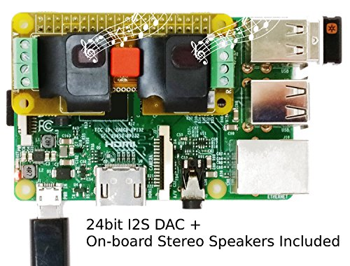 RASPIAUDIO.COM Stereo onboard speaker with Sound Card AUDIO+SPEAKER for Raspberry Pi Zero/Pi3/PI3B/PI3B+/Pi2/Better quality than USB