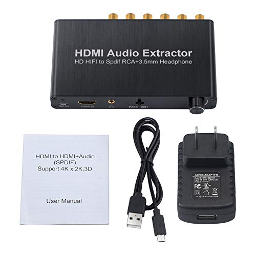Proster HDMI Audio Extractor with Volume Adjustment 4K 3D DAC HDMI to Optical Spdif Toslink + Surround Analog 5.1CH Audio + 3.5mm Stereo Audio Converter for Blu-ray DVD Player Xbox One Sky HD Box PS3