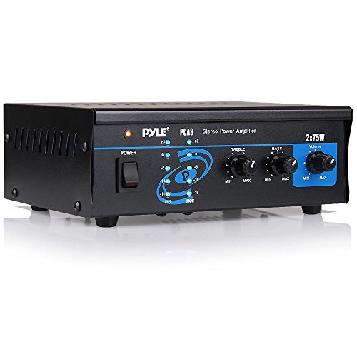 For Amplified Subwoofer Speakers, CD DVD Player, Theater via 3.5mm RCA – Home Audio Power Amplifier System – Pyle PCA3 – 2X75W Mini Portable Dual Channel Surround Sound Stereo Receiver Box w/ LED