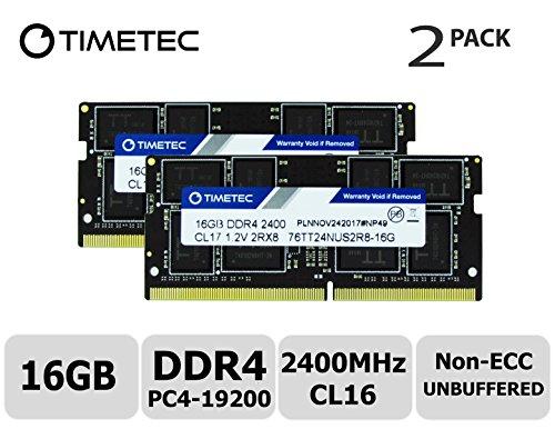 Timetec Hynix IC 32GB Kit 2x16GB DDR4 2400MHz PC4-19200 Unbuffered Non-ECC 1.2V CL16 2Rx8 Dual Rank 260 Pin SODIMM Laptop Notebook Computer Memory RAM Module Upgrade 32GB Kit2x16GB