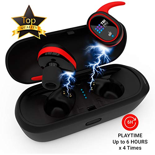 Upgraded 2019 True Wireless Bluetooth Earbuds – Latest 5.0 Strong Connection, Memory-Foam Earmuffs Headphones – Truly in-Ear Earphones, Built-in Microphone – 24 Hours Playtime Quality Stereo Sound