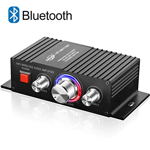 DUTISON Bluetooth Home Audio Amplifier, Mini Home amplifier Bass and Treble Control 60W Dual Channel Mini Portable Power Stereo Sound Receiver w/Speaker Selector For Subwoofer Speaker, iPhone.