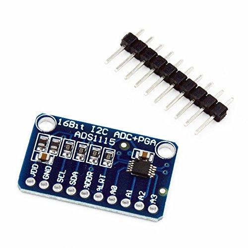 HiLetgo ADS1115 16 Bit 16 Byte 4 Channel I2C IIC Analog-to-Digital ADC PGA Converter with Programmable Gain Amplifier High precision ADC Converter Development Board for Arduino Raspberry Pi