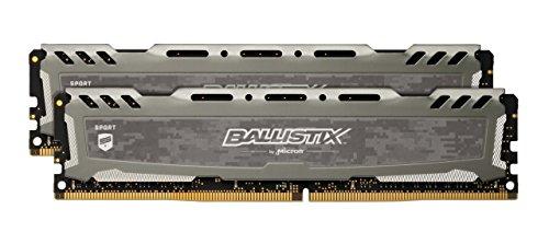 BLS2K8G4D30BESBK Gray – Ballistix Sport LT 16GB Kit 8GBx2 DDR4 3000 MT/s PC4-24000 SR x8 DIMM 288-Pin Memory