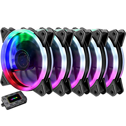 upHere RGB Series Case Fan RGB123-5, Wireless RGB LED 120mm Fan,Quiet Edition High Airflow Adjustable Color LED Case Fan for PC Cases-5 Pack