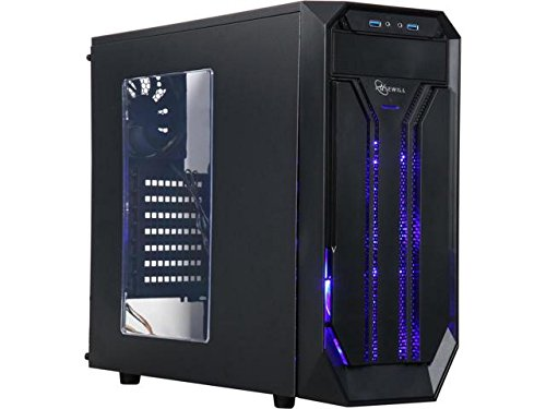 ROSEWILL ATX Mid Tower Gaming Computer Case with Side Window, Gaming Case with LED for Desktop / PC including 3 x 120mm Fans for outstanding ventilation, 2 x USB 3.0 ports BRADLEY M