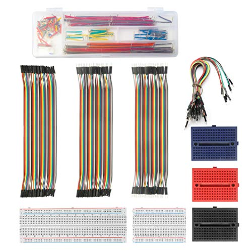 Solderless Breadboard Jumper Wires Set– ALLDREI BJ-001 400 Pin and 830 Pin Prototype PCB Bread Board and Jumper Cable Male-Female, Female-Female, Male-Male for Raspberry Pi and Arduino