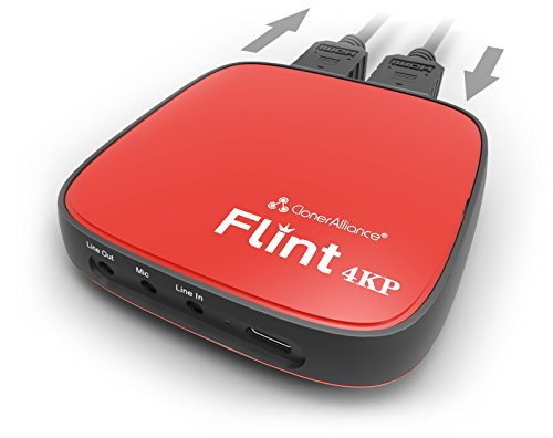 ClonerAlliance Flint 4KP, 4K Passthrough and Live Commentary Video Capture Device. Ultra Low Latency. 1080p 60fps for Gaming Consoles, Camcorder, DSLR