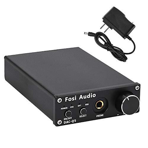 Fosi Audio DAC Converter 24-bit/192kHz Optical/Coaxial/USB Digital-to-Analog Adapter Decoder & Headphone Amplifier & Mini Stereo Pre-Amplifier Q5 Black