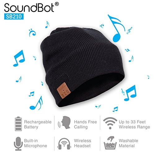 SoundBot¨ SB210 HD Stereo Bluetooth 4.1 Wireless Smart Beanie Headset Musical Knit Headphone Speaker Hat Speakerphone Cap,Built-in Mic BLK